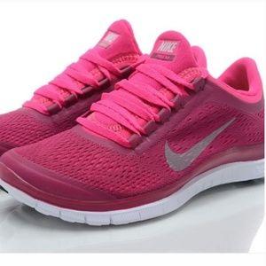 Nike Free 3.0 Pink Fuchsia Sneakers Tennis Shoes